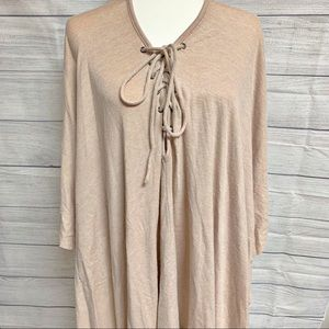 Easel Tan Size Medium Cozy Lace-Up Poncho